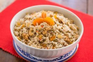 receita lentinha com arroz e frutas