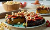 Receita – Bolo de Cenoura com morango, chocolate e pipoca